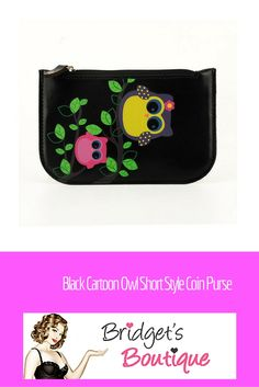 Black Cartoon Owl Short Style Coin Purse from Acess London available at Bridget's Boutique - great fashion accessory for owl lovers, ladies in training, or fun-loving gals