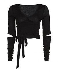 Sweaty Betty - Contemporary Long Sleeve Barre Crop Top - black