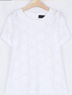 White Vintage Round Neck Short Sleeve Hollow Shirt