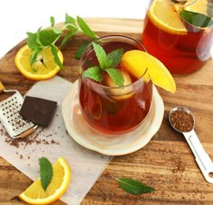Oh hello! #drinks Mint Chocolate Rooibos Iced Tea #recipe by @inspirededibles