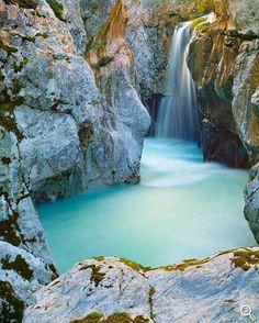 Soca waterfall, Triglav National Park, Slovenia