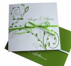 """Einladungskarten - Einladungskarte Hochzeit """"grün-weiß quad."""" - ein Designerstück von moments bei DaWanda"""