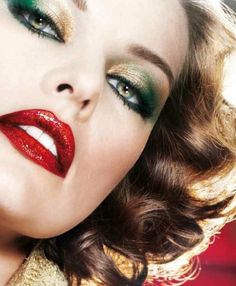 Bold lips, smokey green eye.