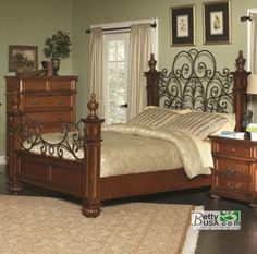 Kessner Oak Wood and Iron Frame King Panel Bed