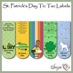 St Digital Tic-Tac Labels for St Patrick/'s Day Patrick/'s Day Tic-Tac Labels