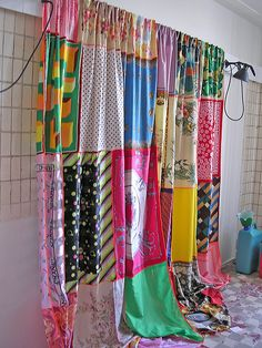 silk scarves, great recycling and a cute curtain idea, would look pretty when the sun catches it!