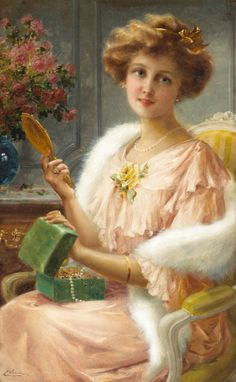 Emile Vernon A young lady with a mirror