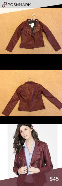 JustFab Maroon Faux Leather Jacket JustFab Maroon Faux Leather Jacket. Never worn, perfect condition. Absolutely love it but it fits too big and I lost the return label. The color is as seen on the model, my lighting is just funky JustFab Jackets & Coats