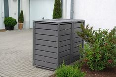 Mülltonnenbox grau Aluminium - 2er 120L mit Klappdach-Classic Garbage Containers, Bin Store, Container Conversions, Storage Bins, Aluminium, Outdoor Furniture, Outdoor Decor, Outdoor Storage, Home Decor