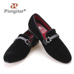 Fabric Buckle Handcraft Men Black Velvet shoes Men Smoking Slipper and Fashion Party Men Flats