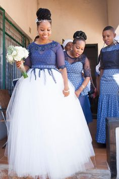 Shweshwe dresses is one among the African materials that are gaining momentum. Shweshwe dresses come in varied styles and might serve for each ancient and compa African Print Dresses, African Print Fashion, African Fashion Dresses, African Dress, African Wedding Attire, African Attire, South African Wedding Dress, African Traditional Wedding Dress, Setswana Traditional Dresses