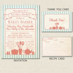 Printable Vintage Kitchen Bridal Shower Package- Invitation, Thank You Card and Recipe Card - Teal and Pink