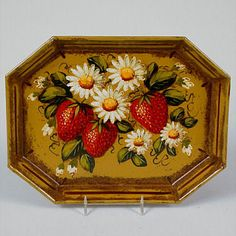 Peter Ompir Original Strawberry and Daisy Tray (Signed) Painted Trays, Painted Boxes, Tole Painting, Fabric Painting, Strawberry Decorations, Russian Folk Art, Boat Art, Russian Painting, Paint Cards