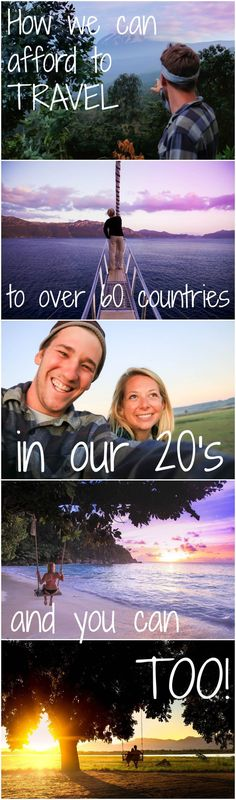 Yes, we are in our twenties and have traveled to over 60 countries across six continents. Here is how we afford to do it! Travel Tips. Travel Money, New Travel, Budget Travel, Travel Wall, Cheap Travel, Family Travel, Travel Advice, Travel Quotes, Travel Tips