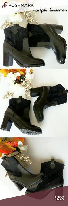 JUST IN! NWOT  Ralph Lauren Devlyn Booties Trend setting booties. Genuine leather and soft suede. Stirrup pulls for easy on/off. Almond toe box. Approx measurements: shaft= 7in from top of foot, heel=3.5in., width at top of shaft 7in. (flat) Worn for try on only. Slip resistant rubber traction outsoles.  *Ask Questions B4 U Buy!* Lauren Ralph Lauren Shoes Ankle Boots & Booties
