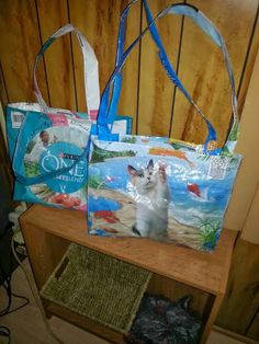 These totes were made from cat food bags. Submitted by Karen