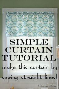 How to Make Curtains:  Try this super simple sewing technique.  Make an entire curtain with only sewing straight lines.  Great tutorial with a video!  source img