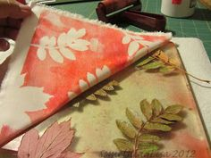 Gelli Plate Tutorial with Leaves! On fabric and paper!
