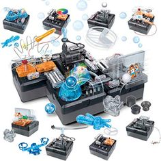 Discovery MINDBLOWN Electronic Circuitry Experiment Building Set with 125 You-Build-It Experiments, STEM Science Engineering Educational Construction Kit with 9 DIY Modules, Battery Electronics