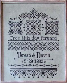 Modern Wedding Sampler Cross Stitch Pattern   Cross stitch, Stitch ...