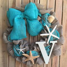 Nautical, Beach, Burlap, Personalized Welcome Wreath With Starfish and Shells