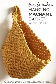 Looking for a cute way to store your #Macrame tools? This Hanging Macrame Basket will look perfect in your studio workspace and can hold a wide range of items. Learn how to make one yourself with… More Macrame Design, Macrame Art, Macrame Projects, Macrame Knots, Micro Macrame, How To Macrame, Free Macrame Patterns, Macrame Wall Hanging Patterns, Crochet Wall Hangings
