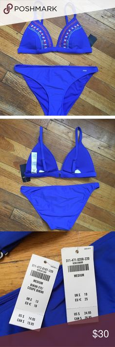 Hollister Co Cobalt Blue Embroidered Bikini Set Brand new, with tags Hollister bikini from this years collection, summer 2017. Cobalt blue color with pretty embroidery on top. Triangle bikini top with adjustable straps and hook and loop closure back. Light padding (not push up). Good coverage Bikini style Bottoms. Both size medium. Very nice bikini that fits wonderfully. Selling because I have too many. Hollister Swim Bikinis