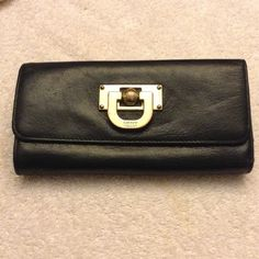 DKNY Donna Karen Black Leather Full Wallet Nice preowned condition. Holds loads of cards. Just conditioned. Zip back coin pouch. No damages but not new. Shows normal use. No offers at this price please DKNY Bags Wallets