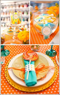 Utiliza caramelos retro para decorar tus servilletas y al mismo tiempo como souvenirs o recordatorios.