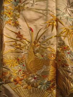 Silk, satin and silk, gold and silvery embroidery c. 1970