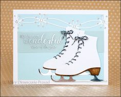 Mary Prasad shared this clean winter card with us on the blog this weekend: http://wp.me/p4kQzc-5it. As the focal point of her card, Mary crafted Joset Designs' Skates. Next, she complimented the card with Els van de Burgt Studio's Holiday Garlands 2. To finish the card off she stamped a holiday sentiment from Joset's Winter Sentiments Clear Stamps. Find everything you need on our online store: https://www.elizabethcraftdesigns.com/