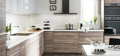 Perfect IKEA Kitchen! Sofielund base cabinets and abstrakt high gloss wall cabinets with Quartz countertops