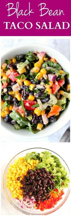 Black Bean Taco Salad Recipe - lighter version of the classic taco salad. Packed with vegetables and black beans in place of chicken for protein. The dressing is simply irresistible. minus the sour cream, perfect for vegan salad Black Bean Taco Salad Recipe, Taco Salad Recipes, Veggie Recipes, Mexican Food Recipes, Vegetarian Recipes, Cooking Recipes, Healthy Recipes, Delicious Recipes, Taco Salads