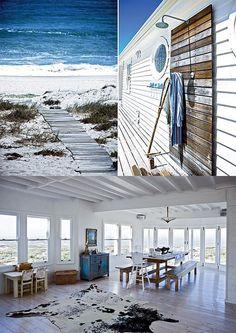 beach house + outdoor shower (nice, except for the rug, ew) Coastal Homes, Coastal Living, Beach Homes, Style At Home, Bungalows, Dream Beach Houses, Beach Shack, Beach House Decor, Home Decor