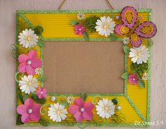 Cards ,Crafts ,Kids Projects: Paper flowers on Handmade Photoframe