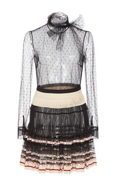 Long Sleeve Pleated Dress by RED VALENTINO for Preorder on Moda Operandi