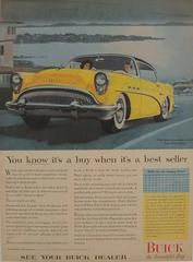 1950s Matted American Buick Car Advertisement, You know it's a buy. A fabulous lithographic car advertisement printed in the 1950s featuring a yellow Buick and extolling its features as a best seller!