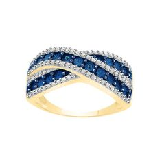 Blue Diamond Gold Crossover ring