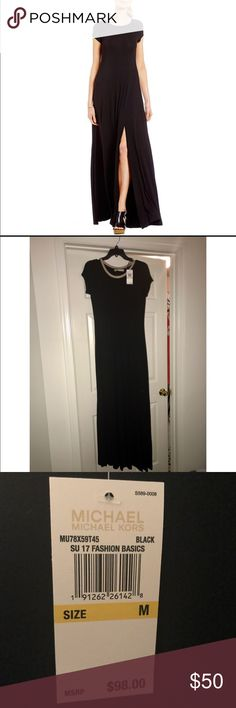 Michael Kors Side Front Slit Jersey Maxi Dress This is a beautiful dress that you can dress up or dress down for any season. It is sold out online. Purchased in August for a wedding, but wore a different dress. MICHAEL Michael Kors Dresses Maxi