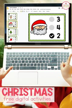 Christmas digital activites for pre-K and kindergarten students practicing syllables and addition. Holiday Activities For Kids, Winter Treats, Different Seasons, Little Learners, 1st Christmas, Literacy Centers, Tis The Season, Decor Crafts, Kindergarten