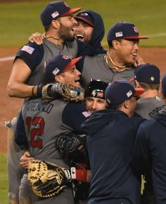 Team USA players celebrate after beating Puerto Rico during the 2017 World Baseball Classic final at Dodger Stadium.