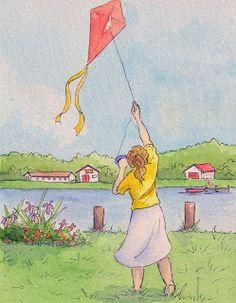 """Let's go fly a kite! Go Fly A Kite, Kite Flying, Watercolor Disney, Art Themes, Illustration Art, Illustrations, Art For Sale, The Past, Childhood"