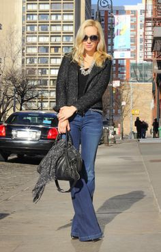 Flare jeans, black tee and bag with scarf around it, tweed moto jacket...casual cool