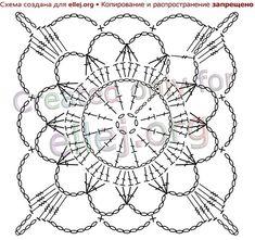 The scheme of knitting an openwork motive Crochet Mandala Pattern, Granny Square Crochet Pattern, Crochet Flower Patterns, Crochet Chart, Crochet Squares, Crochet Flowers, Crochet Dollies, Crochet Wool, Easter Crochet