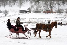 An entry into the Old Sturbridge Village Antique Sleigh Rally.