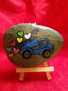 Valentine truck #Clovisrocks #paintedrocks #rocks #valentine #truck