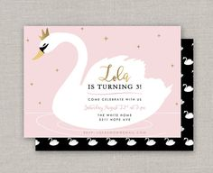 Swan Princess Birthday Invitation by announcingyou on Etsy