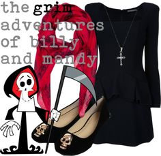 Grim - The Grim Adventures of Billy and Mandy.(I used to watch this show as a kid) Cartoon Outfits, Anime Outfits, Cartoon Fashion, Character Inspired Outfits, Disney Inspired Outfits, Casual Cosplay, Cosplay Outfits, Billy Mandy, Punk Outfits