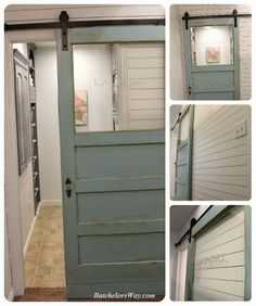 Barn door by Batchelor's Way, like barn door with window and sticker on it that says laundry. gives it a more open feel. Like blueish/grey color