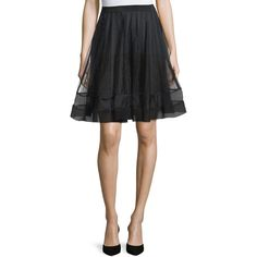 RED Valentino A-Line Skirt W/Ribbon Detail ($860) ❤ liked on Polyvore featuring skirts, black, knee length a line skirt, pleated skirt, ribbon skirt, red valentino skirt and straight skirt